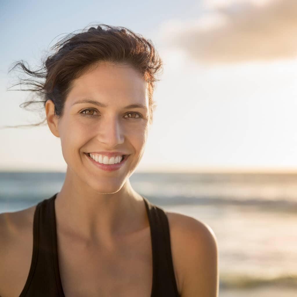 Natural looking woman smiling