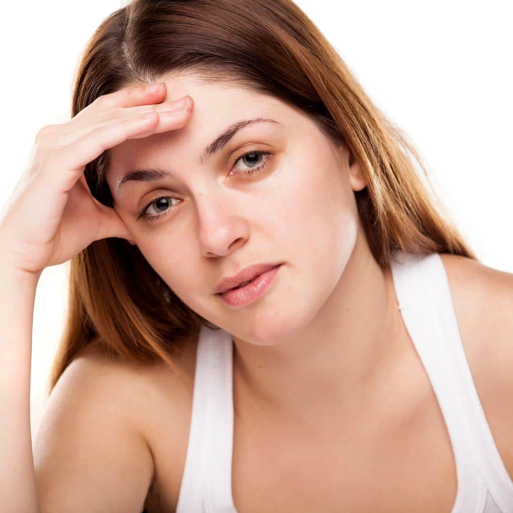 female tired dull skin