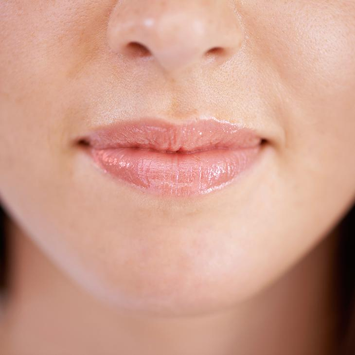 Dermal filler lips closeup